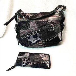 Coach Black Metallic Leather Handbag & Wallet Set